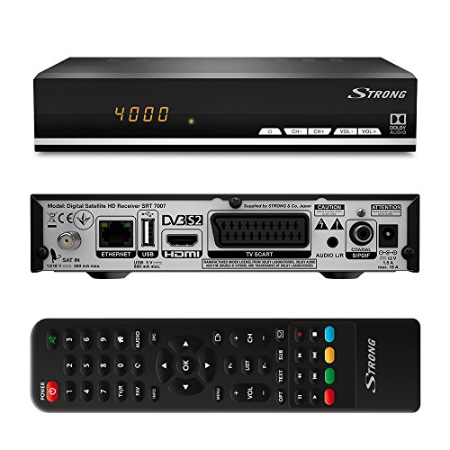 Strong SRT 7007 Decoder Digitale Satellitare Full HD DVB-S2, Ricevitore Satellitare Free To Air e Radio, Connessione Ethernet, Porta USB, Uscite video HDMI / Scart, Parental Lock, Dotazione: Telecomando, 2xAAA Batterie, Adattatore Alimentazione