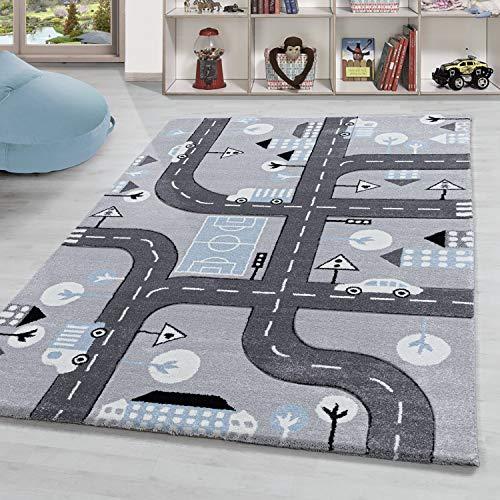 Kinderzimmer Teppich » Rio «, Kinderzimmerteppich,Spielteppich Straßenteppich GRAU, Grösse:80x150 cm, Farbe:Silber