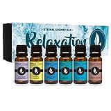 Relaxation Gift Set of 6 Premium Grade Fragrance Oils - Lavender Chamomile, Ylang Ylang, Mountain Rain, Ocean Breeze, Eucalyptus, Sandalwood - 10Ml - Scented Oils