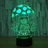 Lámpara de ilusión LED 3D Luz de noche Seta Óptica Mesita de noche Luces de noche Iluminación para niños Lámpara para dormir Iluminación 7 botones táctiles que cambian de color 1M Cable USB Lámpa
