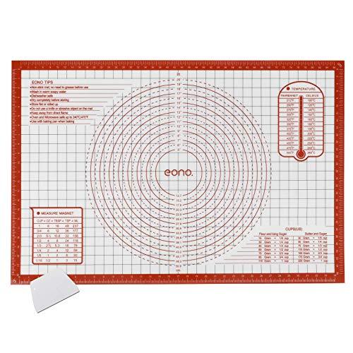 Amazon Brand - Eono Silikon Backunterlage Groß - 91,6x61cm, Antihaft Silikonmatte Backen/Backmatte, Rutschfeste Ausrollmatte/Teigmatte/Teigunterlage mit Messung Für Fondant Gebäck Pizza - Rot