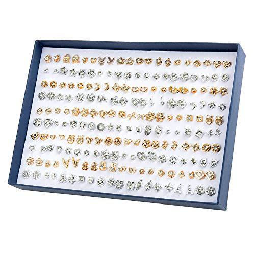 Ohrringe Set, Joeyer 100 Paare Geometrische Ohrstecker, Verschiedene Ohrringe Schmuck Set mit Geschenk Box, Simple Punk Dreiecke Ohrstecker Hoop Earring Set für Frauen Mädchen