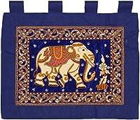 手作りのタペストリー象のタペストリーの伝統的な壁掛け装飾家の柔らかいタペストリー寝室のリビングルームのホイール青茶色の緑67 x 52 cm(カラー:ブルー) (Color : Blue)