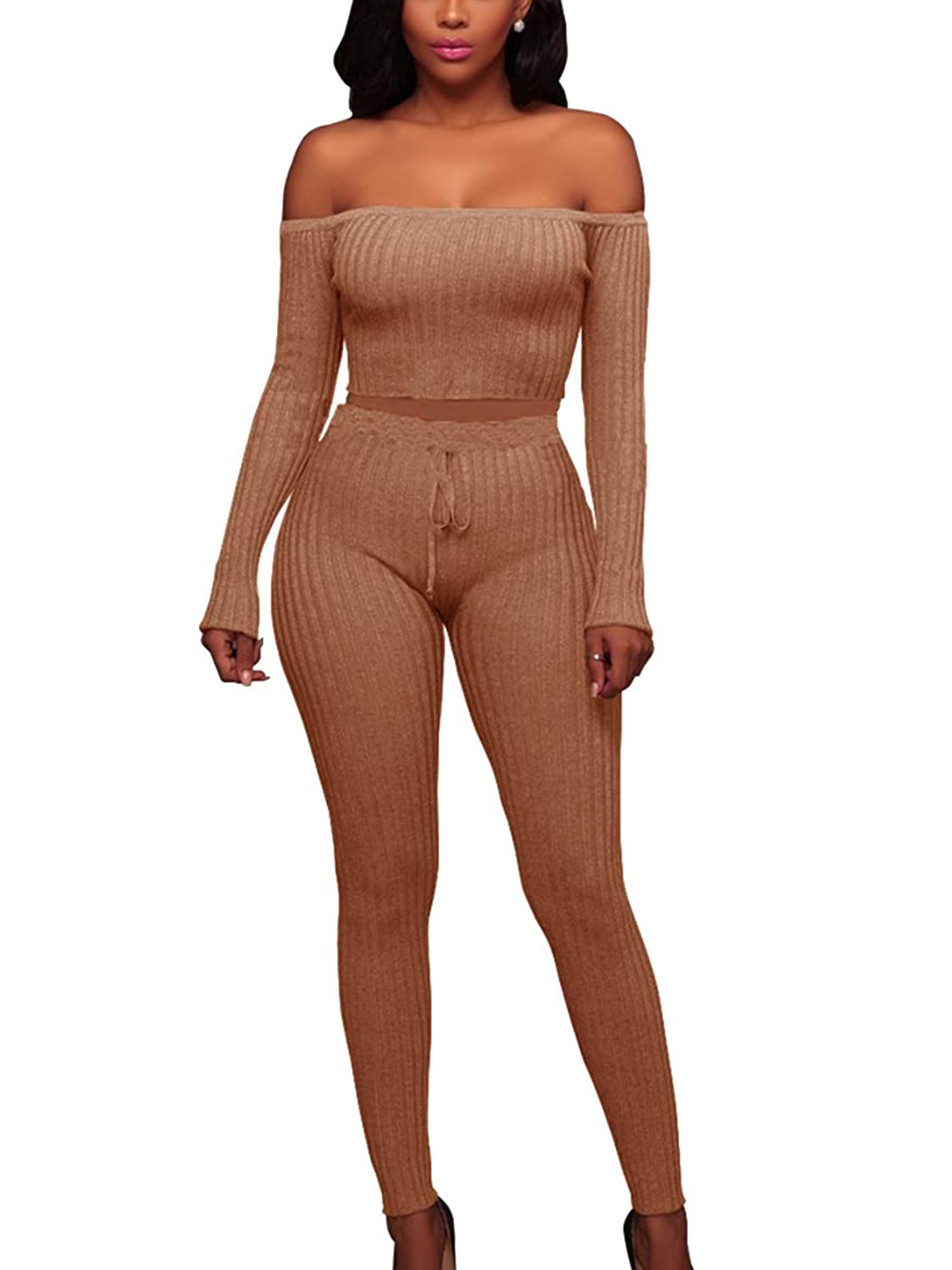 MISFONDLE Women's Sexy 2 Piece Bodycon Off Shoulder Long Sleeve Ribbed Skinny Jumpsuit