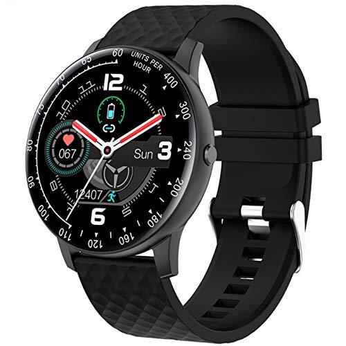 QKA Reloj Inteligente, Nuevo Reloj Inteligente H30 De Pantalla Redonda Femenina De Moda Multicolor, Monitor De Frecuencia Cardíaca, Adecuado para Android E iOS,B