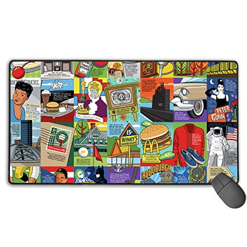 Personalized Mouse Pad Gaming Mouse Pad Best Mouse Pad Ergonomic Mouse Pad Composition of Food, Buildings, and Square Blocks