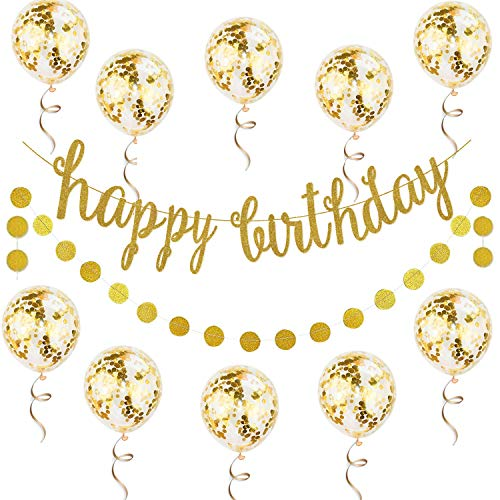 12PCS Gold Happy Birthday Banner Confetti Balloon Birthday Decoration Kit - Gold Glittery Birthday Banner Circle Dots Garland Gold Confetti Balloons for Birthday Party Decorations, Pre-Strung