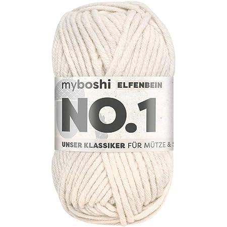 myboshi No.1 Wolle H/äkel-Set 6x50gr Farbe 171 beige passende H/äkelnadel St/ärke 6,0mm Buch Four Season 3 Labels zum Aufb/ügeln