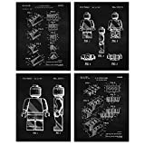 Interlocking Figure Patent Poster Prints, Set of 4 (8x10) Unframed Photos, Wall Art Decor Gifts Under 20 for Home, Office, Man Cave, School, Shop, College Student, Teacher, Comic-Con Movies Fan