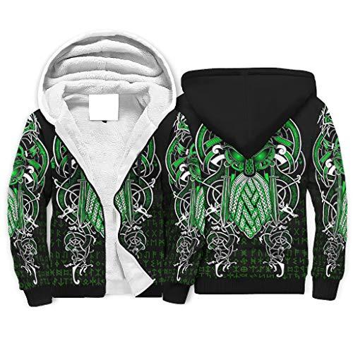 Viking Odin - Sudaderas con capucha para hombre, color verde, con cremallera, bolsillos laterales para la vida diaria, color blanco 2XL