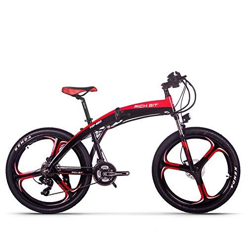 RICH BIT 250W RT880 Bicicletta elettrica 26 Pollici Bicicletta Pieghevole 36V * 9.6Ah LG Li-Batteria Mountain Bike MTB Shimano 21 velocità Freno a Disco Idraulico (Rosso)