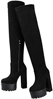 Thigh High Boots Suede Thicken Platform Winter Boots Womens Over The Knee Boots Wedges High Heels Warm Fur Shoes Long Boots