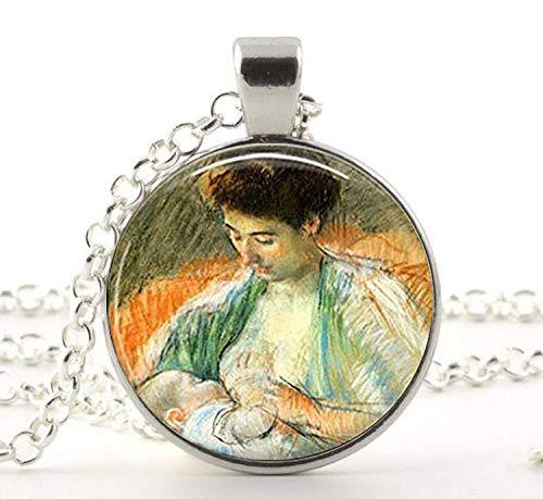 Collar con colgante de madre rosa para lactancia y bebé, joyería vintage para la lactancia materna, madre e hijo.