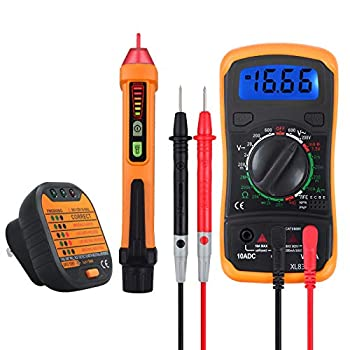 Neoteck Electrical Test Kit Mini Digital Multimeter + Receptacle Outlet Tester + Non-Contact 12-1000V AC Voltage Detector Pen- Great Packs!