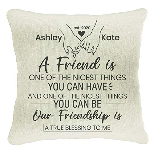 Naive Argo Personalized 18x18 Throw Pillow Case for Mother's Day Christmas Valentines Anniversary Housewarming Gift | Customize Farmhouse Home Decoration | BFF Best Friend Covers | C11D02