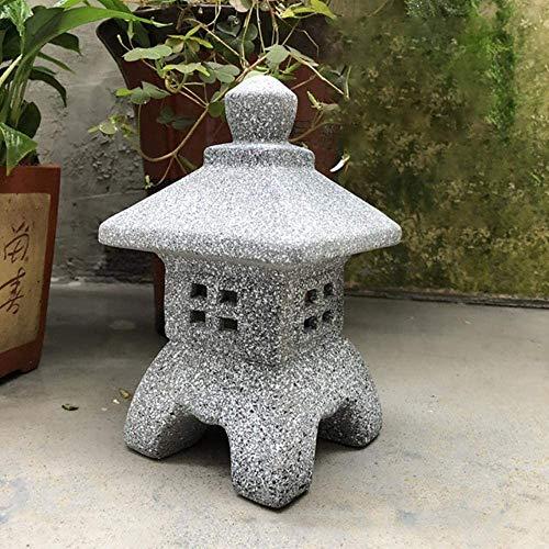 ACAMPTAR - Escultura de jardín para exteriores, de cerámica, para decoración de jardín, decoración de Pagoda, para casa, patio, manualidades, estilo japonés, 2 unidades