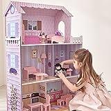 Olivia's Little World Grande Maison De Poupée en Bois Rose 3.7Pi avec 13 Accessoires De Meubles De Poupée pour Enfants Dreamland Tiffany KYD-10922A