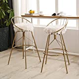 AKLAUS Swivel Bar Stools Gold Bar Chairs White Fur Metal Counter Stools with Backs 30 Inches Gold Bar Stools Set of 2
