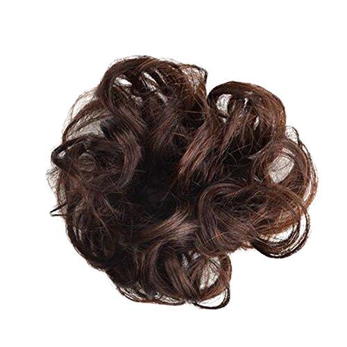 Mesdames élégant Soft Cheveux Bun Extension Band cheveux, Lumière Châtain