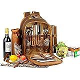 Mochila de Picnic, BITOWAT 4 Personas Bolsa Térmica de Pícnic Térmica, Juego de Vajilla y Manta, para Camping, Actividades al Aire Libre en Familia (marrón)