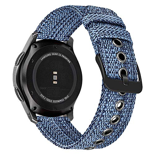 MroTech Correa Compatible con Samsung Galaxy Watch 46mm/Gear S3 Frontier 22mm Pulsera de Repuesto para Huawei 2 Classic/GT/GT2 46 mm Reloj Banda Deportiva Nylon Sport Band Strap Tela Tejida-Azul