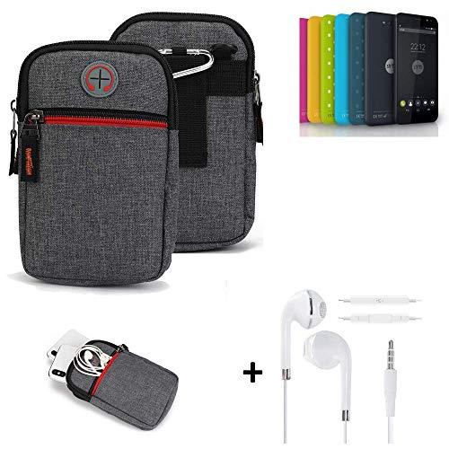 K-S-Trade® Gürtel-Tasche + Kopfhörer Für Shift Shift4.2 Handy-Tasche Holster Schutz-hülle Grau Zusatzfächer 1x