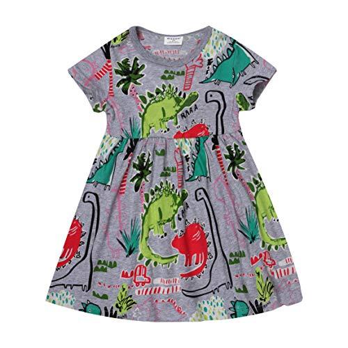 Gold treasure Baby Girls Summer Playwear Dresses Kids Nightgown Dress with Cartoon Dinosaurs (5T)