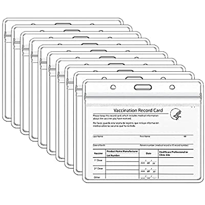 """Teskyer 10 Pack CDC Vaccination Card Protector, 4 X 3"""" Immunization Record Vaccine Card Holder, Plastic Clear ID Card Holder Name Tags Badge Holders"""
