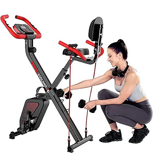 EVOLAND Bicicleta Estática Plegable, Bicicleta Estática de Fitness Multinivel de Resistencia Magnética con Monitor Rítmo Cardíaco para Ejercicio Entrenamiento en Casa, MAX hasta 120 kg (Rojo+Negro)