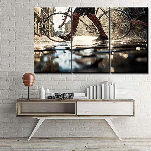 RHBNVR canvas schildersdoek schilderij HD Home Decoration fiets en mensen been regen zonlicht water spatten 3 stuks muurkunst modulaire afbeelding (zonder lijst)