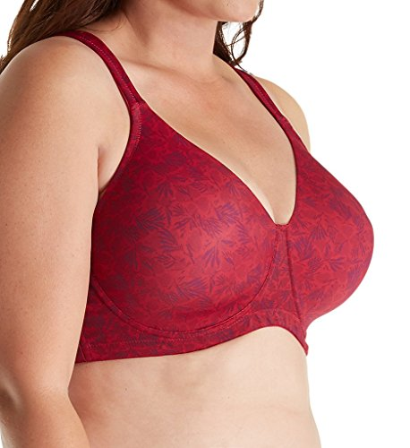 LEADING LADY Women's Molded Padded Seamless Bra Bra, Ruby Pink Floral, 50A
