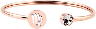 Simple Rose Gold Zodiac Sign Cuff Bracelet with Birthstone Birthday Gift for Women Girls