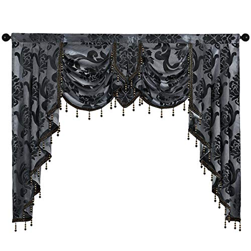 NAPEARL Jabot Curtain Valance with Swags-European Style Kitchen Window Valance, Luxury Jacquard Waterfall Valance Curtains for Living Room ( 1 Black Valance, 61-Inch Wide )