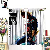 DRAGON VINES Anime My Hero Academia All Might Curtain Girl CurtainFor Bedroom Living Room Home Kitchen Modern Fashion Art Blinds 42x63inch(107x160cm)