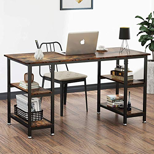 Dripex Mesa Escritorio Ordenador, Mesa despacho Oficina, Estudio, Escritorio con Estanteria, Mesa Ordenador Juego PC,120 x 48 x 76 CM (Marrón Rústico)