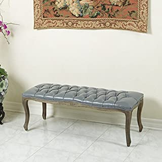 Christopher Knight Home Francis Grey Leather Ottoman Bench