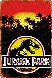 Jurassic Park illutration Cartel Retro de hojalata, Cartel Vintage, Placa, decoración de Pared para Bar, cafetería, jardín, Dormitorio, Oficina, Hotel, 20X30 cm