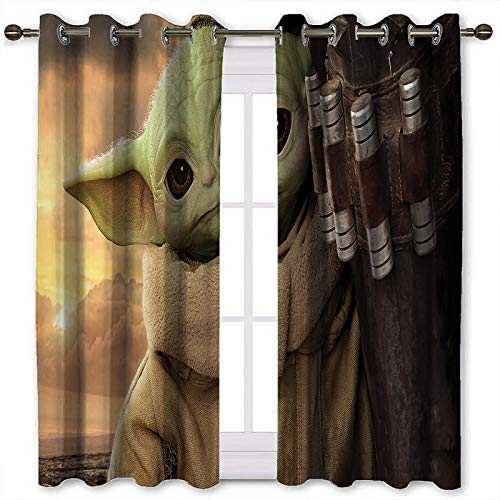 Sound Blocking Curtains Star Wars The Child Mandalorian Season 2 Kids Baby Yoda Pattern Printing Curtains for Kitchen Windows W55 x L45 Inch
