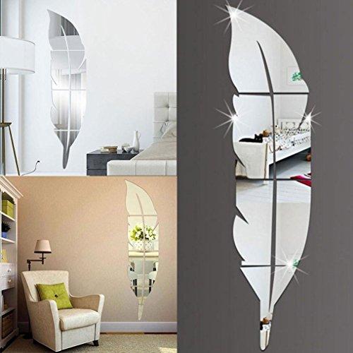 Beautyjourney Stickers Muraux Chambre,DéMontable Plumes Miroir Wall Stickers Autocollant Art Vinyl Maison DéCoration Bricolage (Argent)