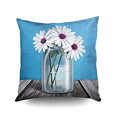 Capsceoll white purple daisy blue mason jar Decorative Throw Pillow Case 16X16Inch,Home Decoration Pillowcase Zippered Pillow Covers Cushion Cover with Words for Book Lover Worm Sofa Couch