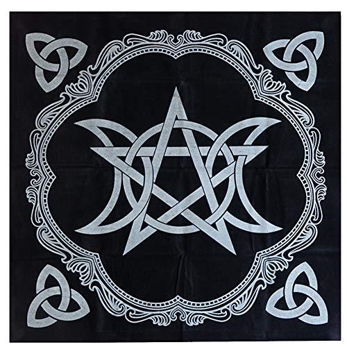 Happymore Tarot Mantel 49 Cm Pentagrama Accesorios triples Juego Mesa antiincrustante Altar pagano Adivinación Franela Impresiones misteriosas Funda Manta Astrología(UNA)