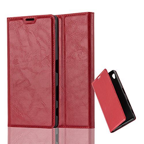 Cadorabo Hülle für Sony Xperia Z5 Premium - Hülle in Apfel ROT – Handyhülle mit Magnetverschluss, Standfunktion & Kartenfach - Case Cover Schutzhülle Etui Tasche Book Klapp Style