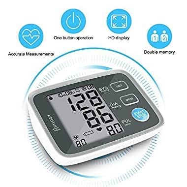 Blood Pressure Monitor, HYLOGY Digital Automatic Upper Arm BP Monitor Cuff 8.7 to 12.6 inch, Large Screen Display and 2 Users Mode 2 * 90 Memory Storage