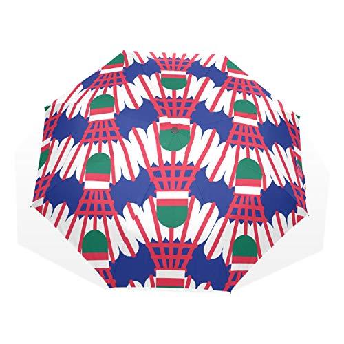 Regenschirm Winddichter kompakter Übungsspaß Sport Badmintonball 3-Fach Kunstschirme (Außendruck Langlebiger kompakter Regenschirm Sonnenschutzschirm für Kinder Reiseregenschirm für Erwachsene