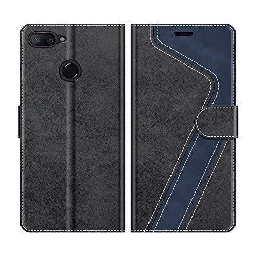 MOBESV Handyhülle für Xiaomi Mi 8 Lite Hülle Leder, Xiaomi Mi 8 Lite Klapphülle Handytasche Hülle für Xiaomi Mi 8 Lite Handy Hüllen, Modisch Schwarz