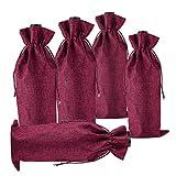 BestTas 10PCS Sacchetti di Vino di Iuta avvolgono Confezioni di Sacchetti di Bottiglia di Vino di Iuta di Lino Naturale con Cordino 35 x 15 cm (10 PC Bordeaux Scuro)
