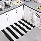 Elloevn Schwarz und Weiß Streifen Moderne Teppiche, Waschbar Fußmatte Outdoor, Shaggy Terrasse Teppich für Wohnzimmer, Küche, Kinderzimmer, 70 * 110 cm - 5