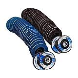 50 PCS Premium Zirconia Flap Discs 4.5 Inch X 7/8 Inch 40/60/80/120/240 Grit Assorted Sanding Grinding Wheels