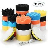 yidenguk 31pcs laine éponge cire de polissage, kit de polissage automatique de voiture, tampon d'éponge de polissage, 2 adaptateurs de foret M10, pour polissage de voiture, épilation à la cire
