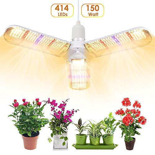 LED Pflanzenlampe, SINJIALight E27 150W Grow Lampe Pflanzenlicht der 3 Flügel, Winkel Einstellbar 414 LEDs Vollspektrum Wachstumslampe mit Verfügbarem Netzkabel, für Alle Wachstumsstadien für Zimmer